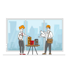 Architect woman or engineer character presenting vector