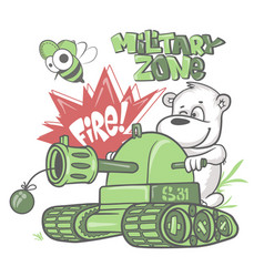 bear soldier in a tank kids shirt print design vector image