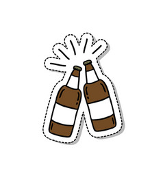 beer doodle icon sticker vector image
