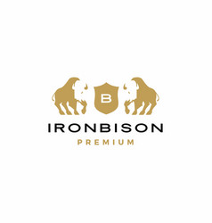 bison coat arms logo icon vector image