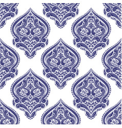 blue and white ornamental seamless pattern vector image
