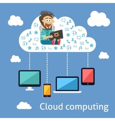 Business cloud computing concept vector