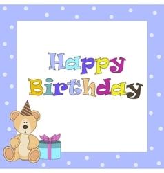 Card withblue teddy bear for boy vector image