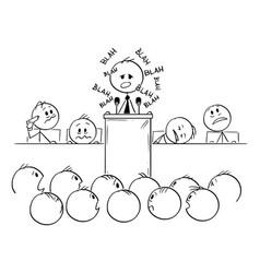 Cartoon boring man or politician speaking blah vector