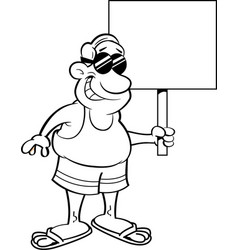 cartoon man wearing a swimsuit and holding a sign vector image