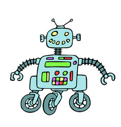 cheerful robot on wheels vector image