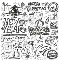 Christmas holidays new year - doodles set vector