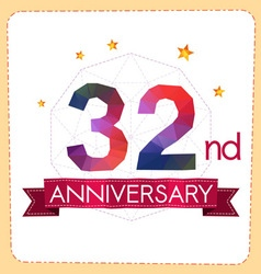 Colorful polygonal anniversary logo 2 032 vector