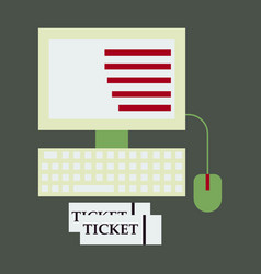 Computer and ticket vector