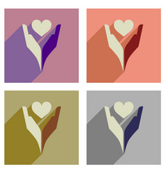 Concept of flat icons with long shadow heart hands vector