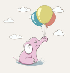 Cute pink elephant playing with balloons vector