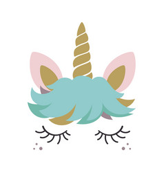 cute unicorn face isolated on white vector image