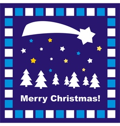 Dark blue Christmas card with Merry Christmas wish vector image