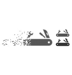 Decomposed pixel halftone multi-tools knife icon vector