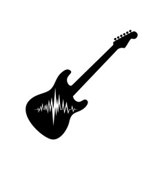 electric guitar with musical wave vector image