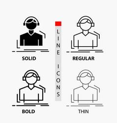 engineer headphones listen meloman music icon in vector image