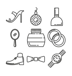 fashion and beauty thin line icon design set vector image