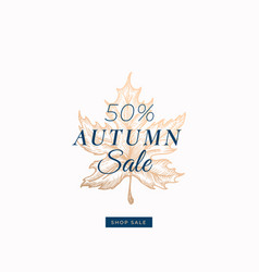 fifty percent autumn sale abstract retro vector image