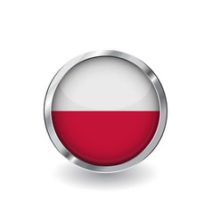 Flag of poland button with metal frame and shadow vector