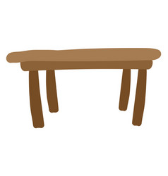 flat brown table on white background vector image