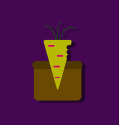 Flat icon design collection turnip in soil in vector