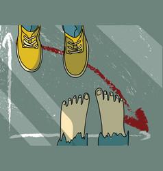 footwear barefoot man metaphor economic financial vector image