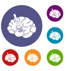 Fork is inserted into the brain icons set vector