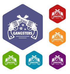 Gangsters icons hexahedron vector