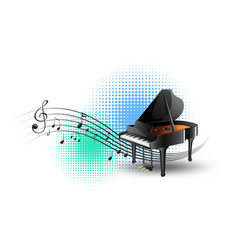 Grand piano with music notes in background vector