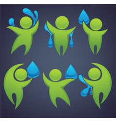 green people and blue water vector image