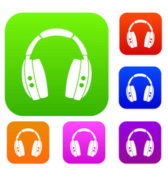 headphones set color collection vector image