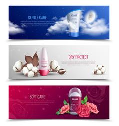 Horizontal banners presenting deodorant vector