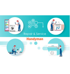 Infographics handyman repair and service job vector