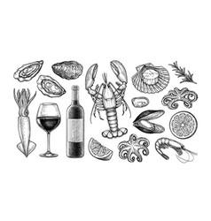 Ink sketch set wine and seafood vector