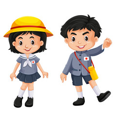 Japanese boy and girl in school uniform vector