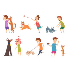 kids with dogs happy children playing hugging vector image