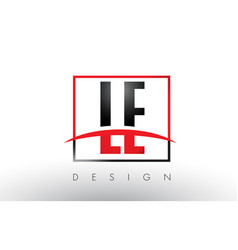 Le l e logo letters with red and black colors and vector
