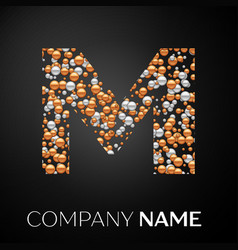 letter m logo gold-silver dots alphabet logotype vector image