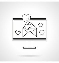 Love email flat line icon vector image
