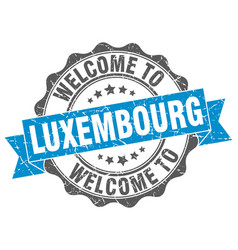 Luxembourg round ribbon seal vector