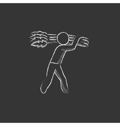 Man carrying wheat Drawn in chalk icon vector