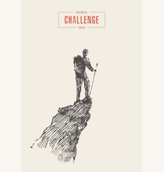 Man on top mountain winner traveler concept vector
