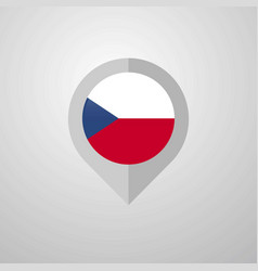 Map navigation pointer with czech republic flag vector