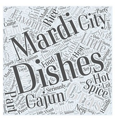 Mardi Gras Cooking Cajun Style Word Cloud Concept vector