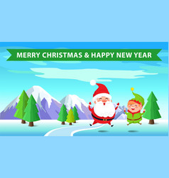 merry christmas santa and elf vector image