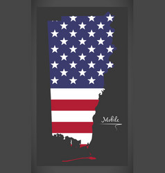 Mobile county map of alabama usa with american vector