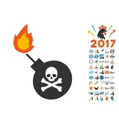 Mortal Bomb Icon with 2017 Year Bonus Symbols vector image