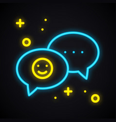 neon message sign bright speech bubble with smile vector image