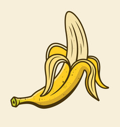 Peeled banana colored yellow cartoon object vector