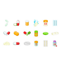 pills icon set cartoon style vector image